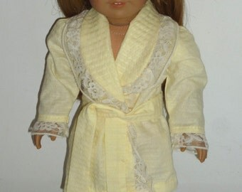 "Fits 18"" American Girl Doll Clothes Handmade Yellow Lace Robe"