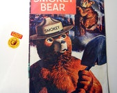 The True Story of Smokey Bear comic book, 1969 printing US Forest Service includes metal badge