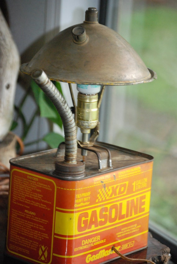 Rat Rod Desk Lamp Upcycled from Vintage Gas Can and Brass