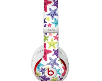 The Smiley Faced Vector Colored Starfish Pattern Skin for the Beats by Dre Headphones (All Versions Available)
