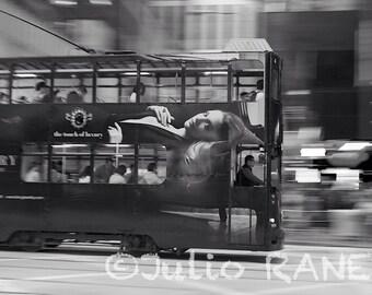 Photo print:  Hong Kong tramway. Movement photography. Hong Kong photo