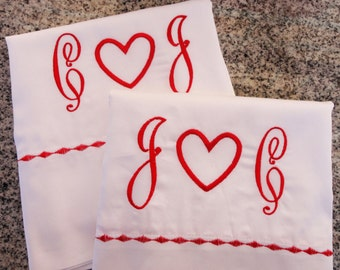 Monogram Heart Pillow Cases with Custom Embroidered Border / Monogram Bedding  / Wedding Gift / Valentines Gift