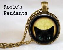 Black Peeking Kitten - Cat Lover Jewelry - Black Cat Pendant - Blue Eyed Cat - Peeking Cat Pendant