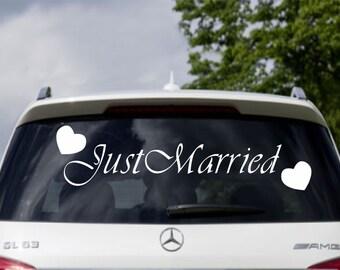 Signe de mariage voiture Just Married fenêtre bannière vinyle autocollant Decal