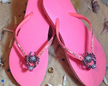 Gorgeous coral size 9 swarovski crystal flip flops with crab brooch! End of season SALE!