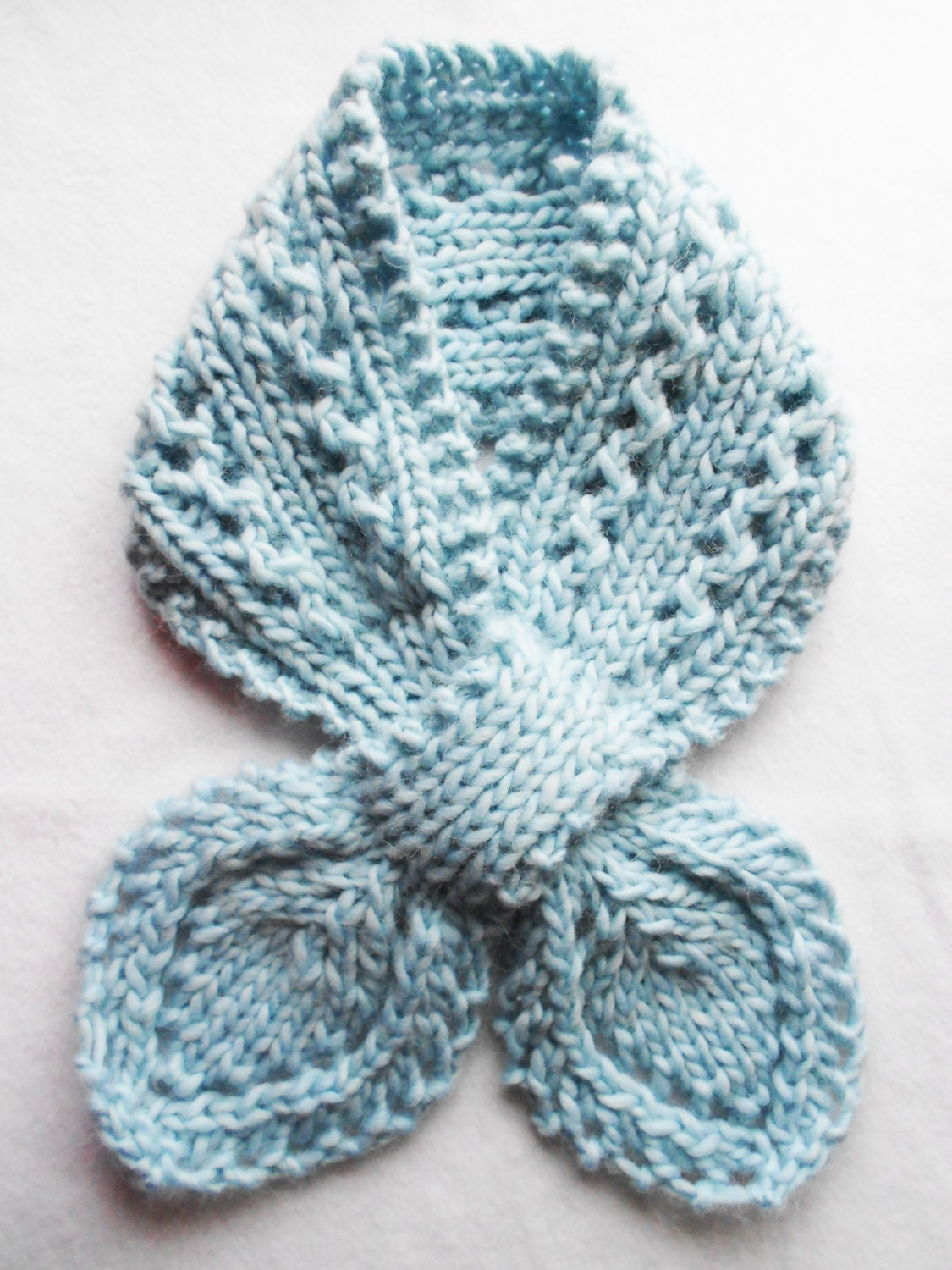 Bow Tie Knitting Pattern : Lace knitted bow tie scarf baby blue 100% wool adult by ...
