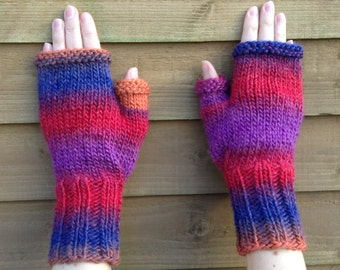 Fingerless Gloves Knitting Pattern, Knit Chunky Mittens French And English PDF.
