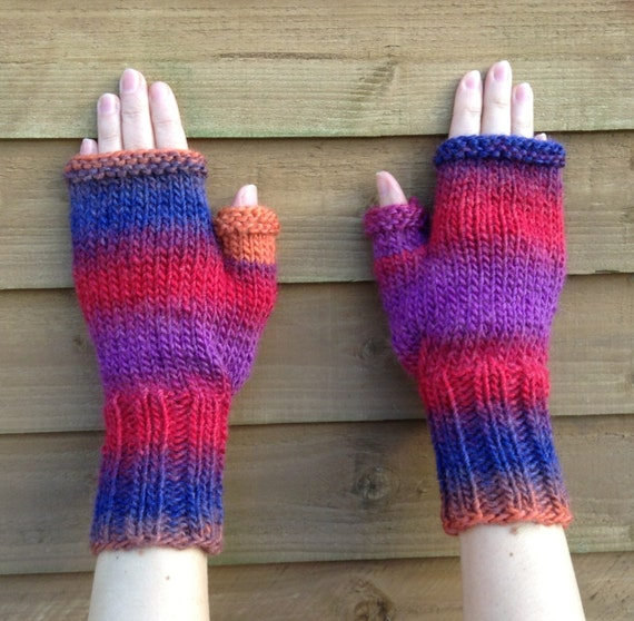 Fingerless Gloves Knitting Pattern Knit Chunky Mittens French