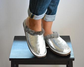 Women Slippers, Gray Fur Slippers, Womens Slippers, Handmade Slippers, Leather Slippers, House Slippers, Gift for Her, Warm Slippers