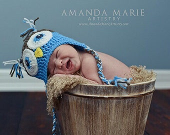 Baby Boy Blue Owl Beanie/ Made to Order