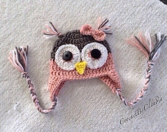 Crochet Pink and Grey Owl Beanie/ Made to Order/ Any size