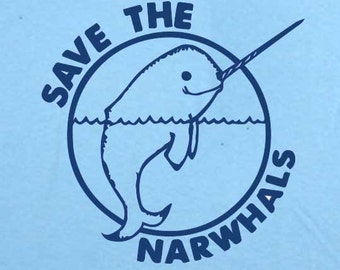 Save The Narwhales T-Shirt Animal rights vegan vegetarian save the whales kids tee also available on crewneck sweatshirts and hoodies SM-5XL