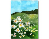 A Field of Daisies - Collage Art Card or Print - Summertime Childhood Memories - Simple Pleasures - Home Decor (CMEM2013056)