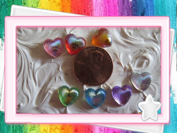 0: )- CABOCHON -( Rainbow AB Resin Sea Shell Hearts Clear Gloos Shine Iridescent