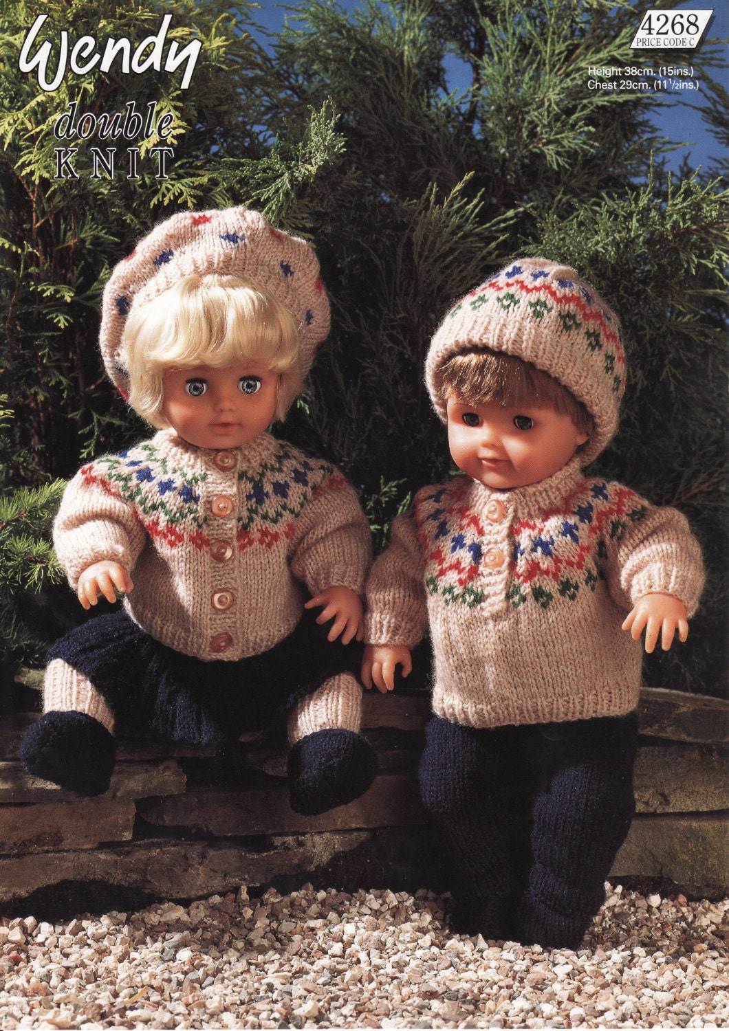 Fair Isle Sweater Jacket Hat And Trousers Dolls Clothes