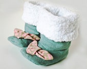 Blue green booties with pink bow, baby boots, girls boots, toddler boots