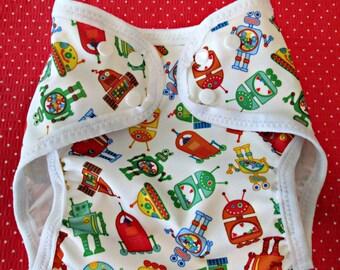 """Diaper Cover, Babyville Boutique """"Robots"""" Design"""
