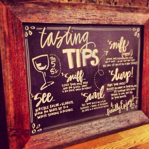 Chalkboard wine tasting instructions by masandmillie on etsy for Wine chalkboard art