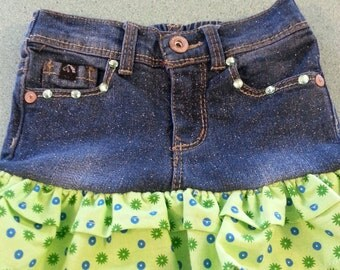 Upcycled jean skirt for infants, toddlers, and little girls..