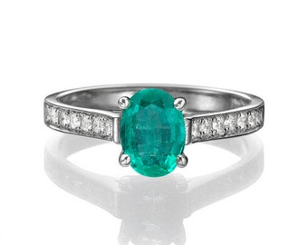 Emerald Engagement Ring, Vintage Emerald Ring, Emerald and Diamonds White Gold Ring, Vintage Engagement Ring