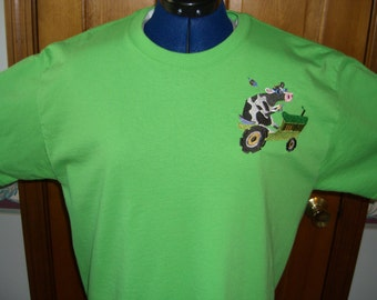 Cow on a Tractor tee shirt