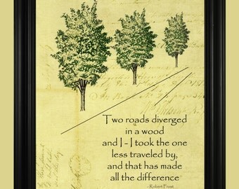 Robert Frost's The Road Not Taken, Robert Frost Poem, Green Tree Illustration, Two Roads Diverged in a Wood