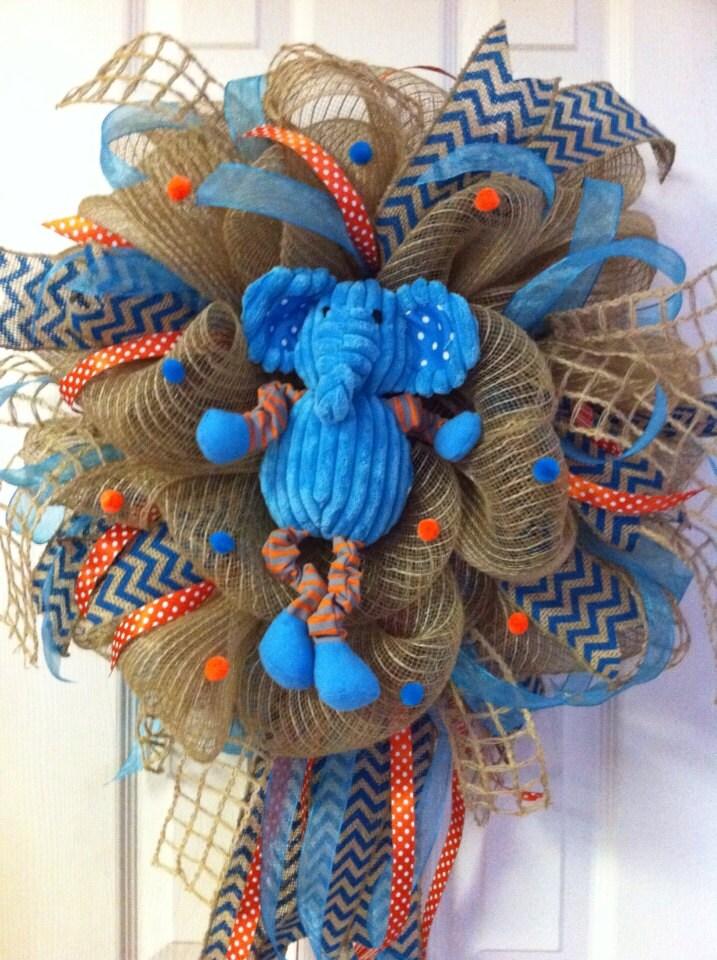 deco mesh elephant wreath by debbiesdoordelights on etsy. Black Bedroom Furniture Sets. Home Design Ideas