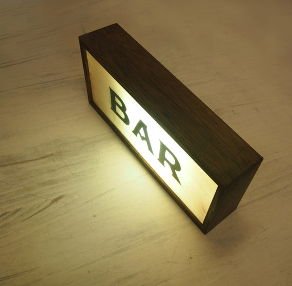 Hand Painted Lighted Signs BAR Vintage Wooden