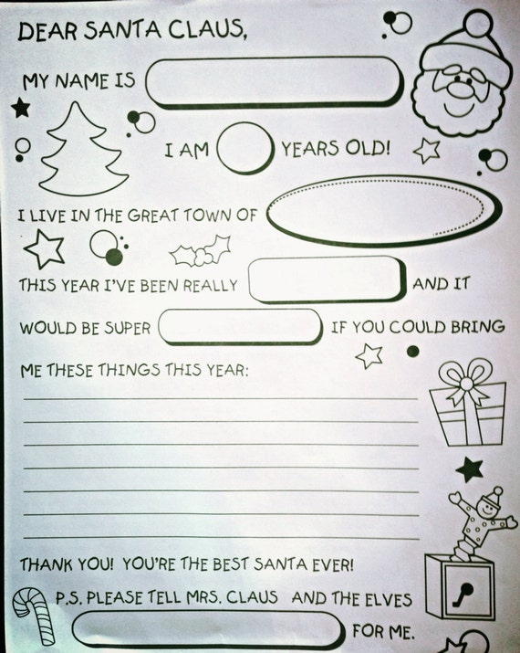 Secret Santa Starter Kit Crafthubs – Santa Wish List Template