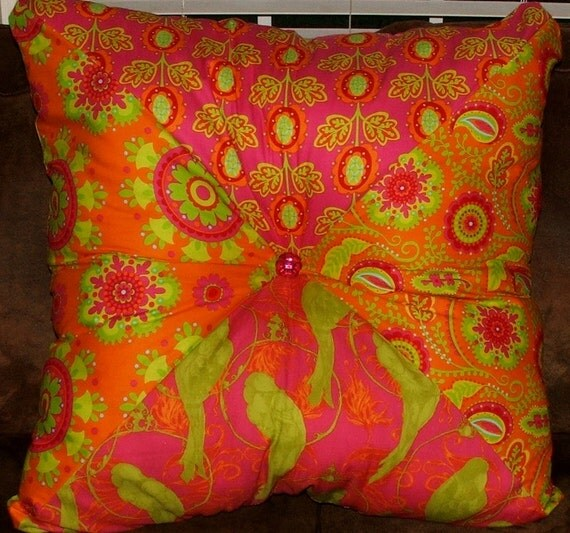 Extra Large Square Floor Pillows : Orange and Pink Extra Large Stuffed Square Pillow/ Floor