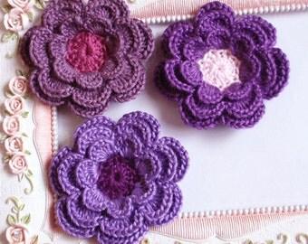 3 crochet flowers applique CH-036-03