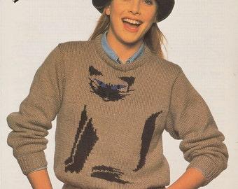 vintage siamese cat knitting pattern sweater jumper for women or men adults dk