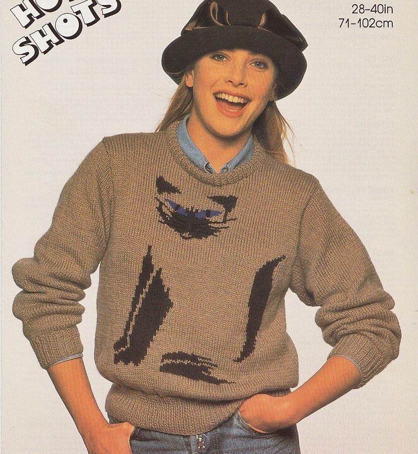 vintage siamese cat knitting pattern sweater jumper for women