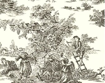 Crisp Black and White French Countryside Pastoral Toile De Jouy - Country, Scenic, Lush Foliage- Wallpaper By The Yard - SM8549