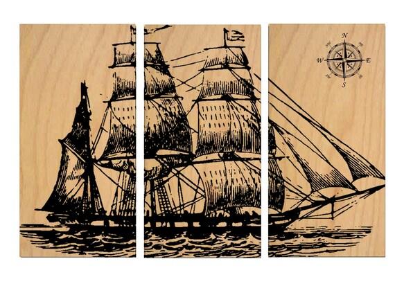Vintage Pirate Ship Sailboat Screen Print Wood Painting