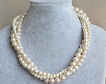 champagne pearl necklace,3 rows  glass pearl necklace,wedding necklace,pearl jewelry,bridesmaid necklace,wedding necklace,wedding jewelry