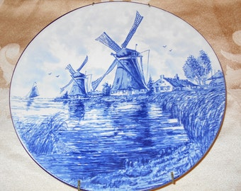 Delft Blue Plate, Made In Holland- Vintage Delft Blue Display Plate