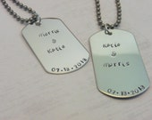 Hand Stamped - His and Hers - Dog Tag Anniversary Set