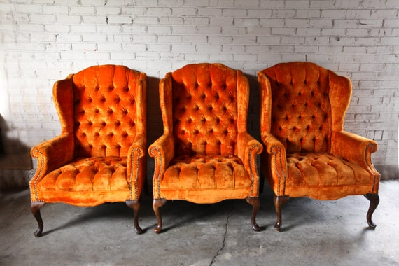 3 Vintage Orange Velvet Tufted Wingback Chairs