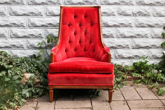 Red Velvet Vintage Tufted Wingback Side Chair