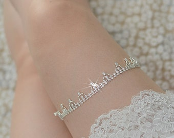 crystal bridal garter, rhinestone garter, vintage chloe bridal garter, wedding garter set, beaded wedding garter