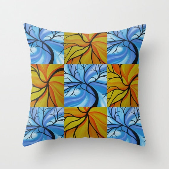 turquoise blue yellow orange throw pillow cover with tree of. Black Bedroom Furniture Sets. Home Design Ideas