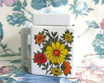 Vintage Floral Tea Pot BM KERAMIK White Petite German Ceramic Tea Pot