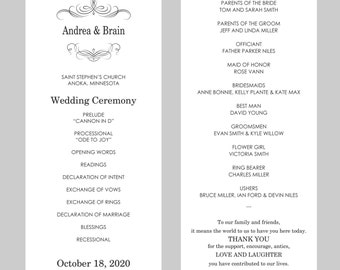 Tea Length Wedding Program Template – Black Calligraphy Flourish - Instant Download - Editable MS Word File