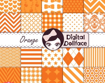 Orange Digital Paper Set, Orange Scrapbook Paper Pack, Digital Set