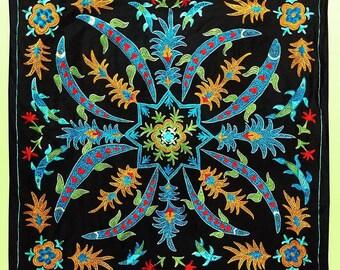 """fine uzbek silk embroidery """"fishpond"""" suzani a3620"""