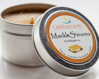 S'mores Scented Natural Soy Candle perfect for the S'mores Lover or any fun occasion.  The Mackle S'mores candle is fun, sweet and soothing.