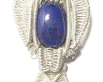 Top Lapis heady wire wrapped pendant , Lapis pendant