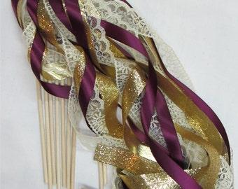 Glitter wedding wands 100 triple streamer send off wands, birthday wands