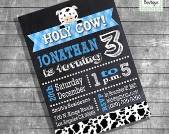 Birthday Party invitation chalkboard cow blue invite children party invite digital printable invitation 13125